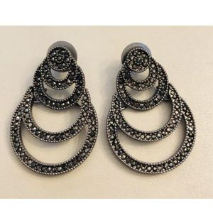 New LIZ CLAIBORNE Marcasite Silver Tone Earrings